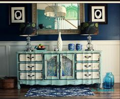 Stunning! The Turquoise Iris: Tiffany Blue & Teal Vintage French Provincial Triple Dresser / Buffet