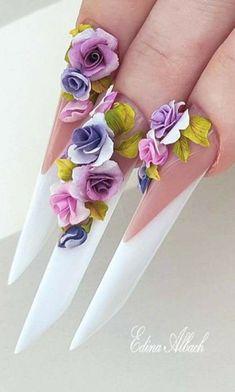 French Manicure Nails, Aycrlic Nails, French Nails, 3d Acrylic Nails, Acrylic Flowers, Flower Nail Art, Pretty Nail Art, Luxury Nails, Creative Nails
