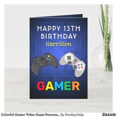 Colorful Gamer Video Game Personalized Birthday Card Birthday Gift Cards, Personalized Birthday Cards, Birthday Games, Birthday Greetings, Boy Birthday, Birthday Video, Happy 13th Birthday, Custom Greeting Cards, White Elephant Gifts