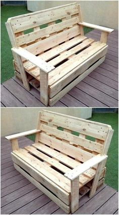 Beautiful pallet ideas and projects would be an amazing addition to your home. The beautiful pallet ideas not only make your home look classy but also save your money. Pallet Furniture Bench, Wood Bench Plans, Woodworking Furniture Plans, Pallet Bench, Diy Furniture, Woodworking Hacks, Furniture Removal, Recycled Pallets, Wooden Pallets