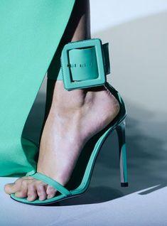 green buckle shoe