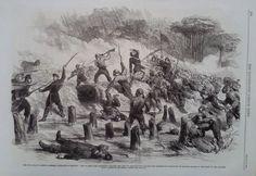 1862 PRINT THE 9TH NEW YORK  & 21ST MASSACHUSETTS FIGHTING AT ROANOKE ISLAND