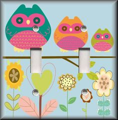 Light Switch Plate Cover - Girls Room Decor - Owl Family With Flowers