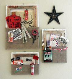 Turn Canvas Backwards and make wall pockets.  Make canvas frames.