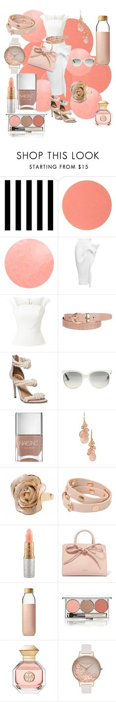 """""""Peaches and Cream"""" by lindsaywassel ❤ liked on Polyvore featuring Tempaper, Chantecaille, Maticevski, Roland Mouret, Montblanc, Ray-Ban, Nails Inc., Avon, Hop Skip & Flutter and Tory Burch"""