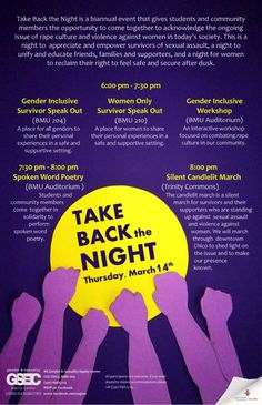 """""""take back the night"""" poster - Google Search Take Back, Work Inspiration, Appreciation, Student, Education, Google Search, Night, Board, Poster"""