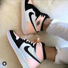 Nike air Jordan ones pink white black they look amazing definitely check them out. Sneakers Shoes, Cute Sneakers, Sneakers Fashion, Nike Fashion, Jordans Sneakers, Sneakers Adidas, Converse Shoes, Nike Trainers, Nike Air Jordans