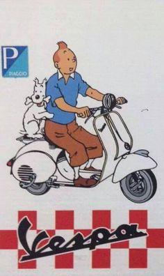 Tintin Publicité pour une vespa