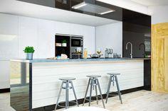 Apartament na poddaszu z wyspą i stylowym aneksem kuchennym / Okap sufitowy GLOBALO Liveno