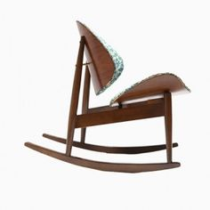 Bentwood Clam Rocking Chair with Chintz Upholstery from Kodawood, 1960s