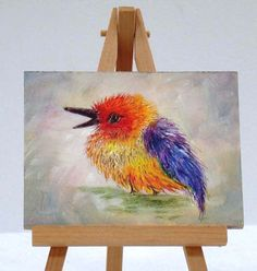 Bird with purple,yellow, and orange feathers , 3x4, original,  small bird, small gift. by valdasfineart on Etsy