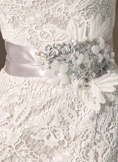 Sincerity wedding accessories style Satin ribbon belt with beaded motif, silk leaves and a brooch (from Bridal Wedding Dresses, Wedding Day, Bridal Gown, Couture Bridal, Dream Wedding, Bridal Belts, Wedding Belts, Wedding Attire, Wedding Tips