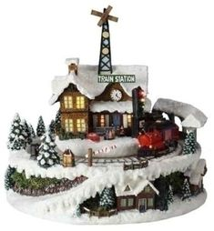 85 Amusements Battery Operated Musical and Animated LED Lighted Christmas Train Station *** Click image for more details. Classic Christmas Songs, Christmas Music Box, Led Christmas Lights, Christmas Train, All Things Christmas, Christmas Decorations, Christmas Gifts, Christmas Morning, Christmas Time