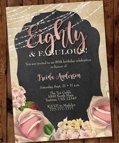 Surprise 80th Invitation Pink Floral Birthday Invitation 80 And