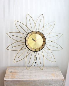 Starburst Clock Vintage wall Clock Retro Clock by MollyFinds