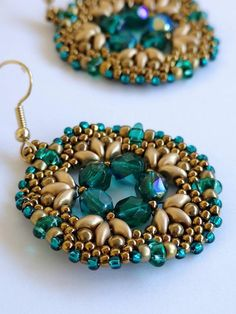 Emerald colours earrings, beaded earrings, statement - Something blue jewelry design -etsy shop Beaded Earrings Patterns, Bead Earrings, Bracelet Patterns, Beaded Necklace, Beaded Bracelets, Twin Beads, Seed Bead Jewelry, Seed Beads, Gift Ideas
