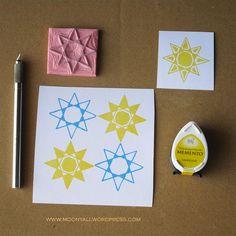 islamic art geometric arabic stamp carving block - ختم نقوش اسلامية Eid Cards, Stamp Carving, My Stamp, Islamic Art