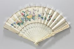 Folding fan with a double sheet of cream-coloured satin painted with flowering branches, birds and butterflies, 1850. Rijksmuseum, Public Domain