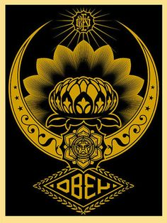 SHEPARD FAIREY - Lotus Ornament Gold -  2008 -  Screenprint -  24 x 18 in. -  Edition of 300 -  Pencil signed and numbered - Contact us at info@gsfineart.com or call us at 305-456-5478