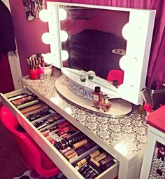 Vanity Table with makeup. Foundation power makeup brushes and perfume. LOVE ---- http://shez-a-bitch.tumblr.com