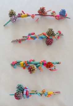 Kids use an assemblage technique to make sculptures from painted sticks and pinecones, and dyed and painted pasta.