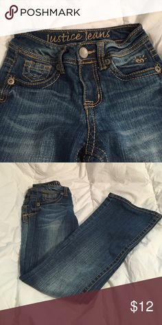 Girls justice jeans, boot cut - 8 S Barely worn, excellent condition Justice Bottoms Jeans