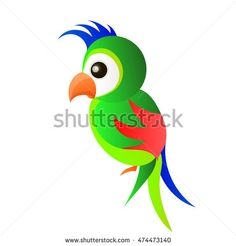 Parrot. Logo. Isolated bird on white background