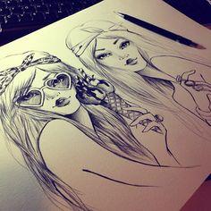 desenho, ilustração, illustration, girl, menina, cute, linda