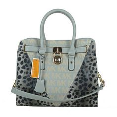 Michael Kors Logo Signature Leopard Large Grey Totes Outlet
