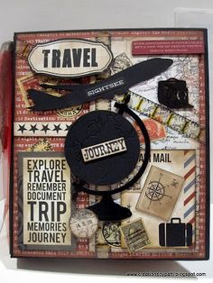 Creations by Patti: Teresa Collins far & Away Travel Mini Album...lots of good ideas for a travel album