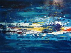 Olieverf schilderij Regenboog water