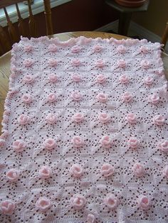New Crocheted Pretty-In-Pink Roses Baby Afghan by hookinontheside Baby Afghan Crochet Patterns, Baby Girl Crochet Blanket, Crochet Bedspread, Granny Square Crochet Pattern, Baby Patterns, Crochet Baby, Baby Afghans, Baby Shawl, Pink Cotton Candy