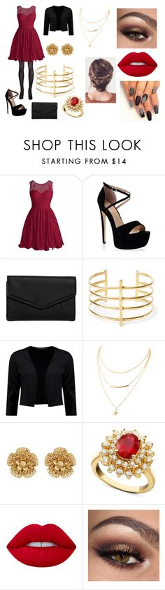 """""""#167"""" by julie-somerhalder-evans ❤ liked on Polyvore featuring LULUS, BauXo, Boohoo, Miriam Haskell, R.H. Macy's & Co. and Lime Crime"""