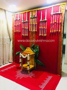 Decor by Krishna AP/ Telangana/ Karnataka/ Tamilnadu/ USA/Australia Ganpati Decoration At Home, Diwali Decorations At Home, Festival Decorations, Background Decoration, Backdrop Decorations, Flower Decorations, Janmashtami Decoration, House Warming Ceremony, Housewarming Decorations