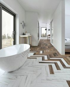 Elegant floor design Floor tiles in stone and wood laid as herringbone . - Elegant floor design Floor tiles in stone and wood laid as herringbone – interior design on Insta - Modern White Bathroom, Modern Bathroom Design, Beautiful Bathrooms, Neutral Bathroom, Small Bathroom, Marble Bathrooms, Modern Bathrooms, Minimal Bathroom, Boho Bathroom