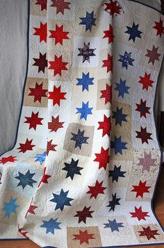 Simple star quilt.   Quilts of Valor project,  Pink Chalk Studio.