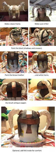 I had a hard time finding a tutorial on making and painting a Paper-mâché helmet in the Nord or Viking style, so I just made one myself. I used a gallon jug (water, but milk is the same) for the base, cut out the handle/opening and bottom, fitted the rest out with cardboard to shape against the head. (Made for my husband but loosely fits a child.) Used smaller bottle rims for the horn joins, and tin foil/ aluminum foil for the horns.  Paper mache everything.  Painted w/ generic paint.