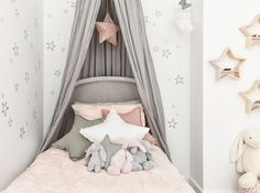 Starry Retreat Big Girl Room - love the soft pinks and grays paired with fun star patterns!