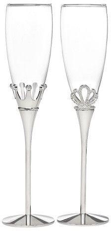 Hortense B. Hewitt King and Queen Crown Wedding Champagne Flutes