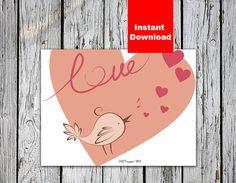 singing bird in love Valentine's Day card 8x6 by ARTYasnogora