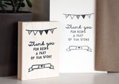 """Awesome wedding """"thank you"""" stamp! Use this hand carved stamp for wedding favors and baggies; thank you cards; decorations; or whatever whimsical idea you have // Found @Alisa Garabo Robinson on Etsy"""