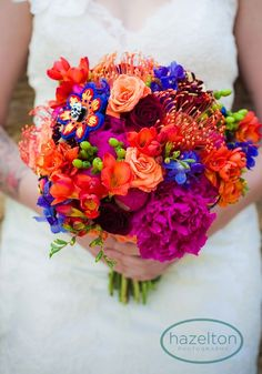 Featured Bouquet | Bold   Bright Bouquet | Geneva Wedding Florist = bouquet by www.kiokreations.com photo by Hazelton Photography