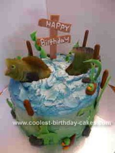 Fishing birthday cake with fondant fish and gum paste boat by