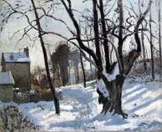 Chemin de Creux, Louveciennes, neige(Snow landscape in Louveciennes) 1872 Camille Pissaro Oil on canvas Museum Folkwang, Essen
