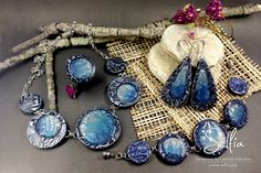 """Polymer Clay Jewelry Set """"The Ocean Depths"""": Necklace, Bracelet and Earrings - HandMade from Polymer Clay with Pebeo Fantasy Prisme Paints! by SweetyBijou on Etsy"""