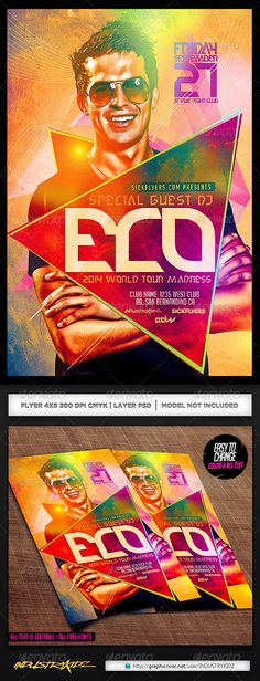 Epic PSD Electro Dance Music DJ Flyer Template • Only available here ➝ http://graphicriver.net/item/electro-dance-music-dj-flyer/7496449?ref=pxcr