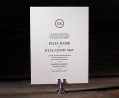 Austin Traditional letterpress wedding invitation suite by Jessica Tierney for Bella Figura