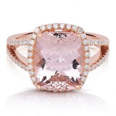 2/5 ct. tw. Diamond & Cushion Cut Morganite Halo Ring in 14K Gold - Shop All Jewelry - Jewelry - Helzberg Diamonds