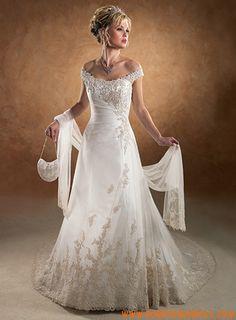 Châle robe de princess broderie petite traîne Célébrité robe de mariée