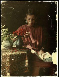 Meisje dat bloemblaadjes determineert